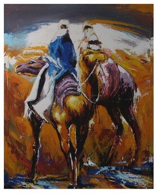 Camel Riders in the Sands of Fez - Textured Multi-Media Hand painted Canvas