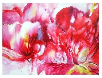 Abstract Peonies Modern High Gloss Oil Painting Canvas