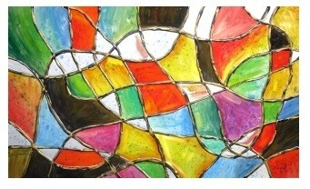 Abstract Stained Glass Modern High Gloss Oil painted Canvas