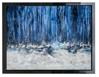 Abstract Waterfall Modern High Gloss Oil Painted Canvas