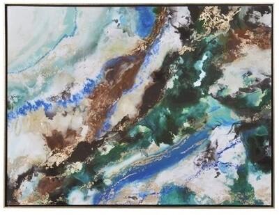 Abstract Blue & Green Modern High Gloss Canvas