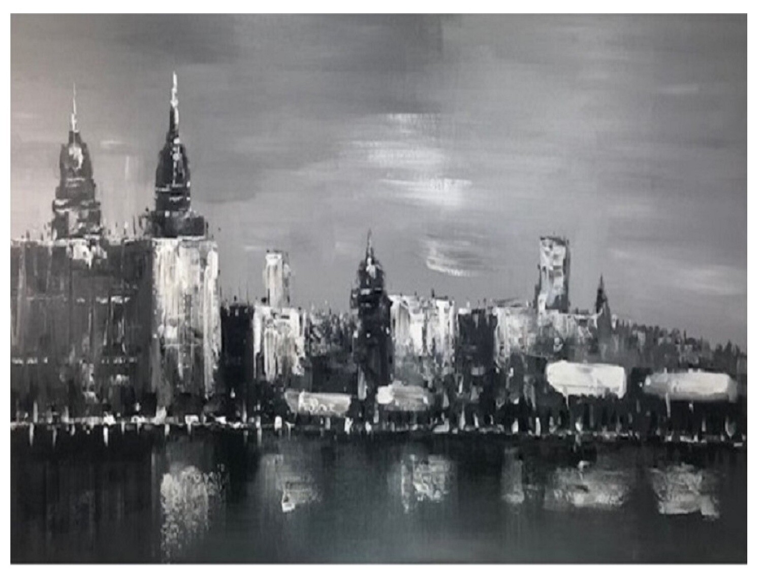 City Domes Grey Modern Original Hand Paint Canvas