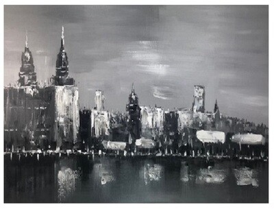 City Domes Grey Modern Original Hand Paint Canvas