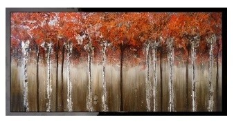 Abstract Maple Walk Modern High Gloss Oil Painted Canvas