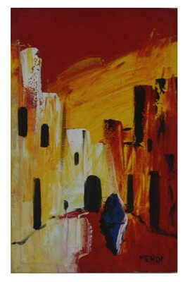 Streets of Fez - Red Abstract Textured Multi-Media Hand painted Canvas