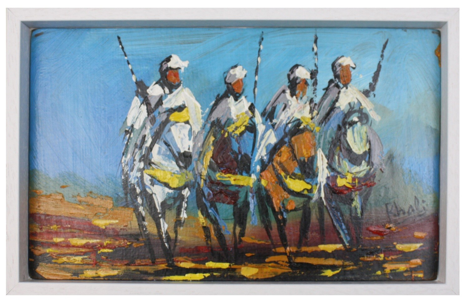 The Four Horse Men of Fez - Textured Multi-Media Hand painted Canvas in a White Frame