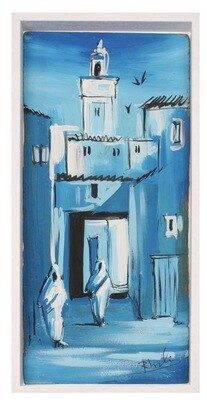 Streets of Fez- Textured Multi-Media Hand painted Canvas in a White Frame