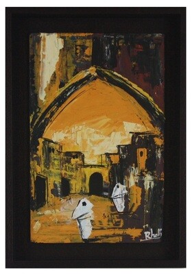 Streets of Fez- Textured Multi-Media Hand painted Canvas in a Brown Frame