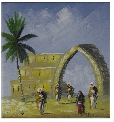 Streets of Baghdad Small Knife Art Original Hand Painted Canvas