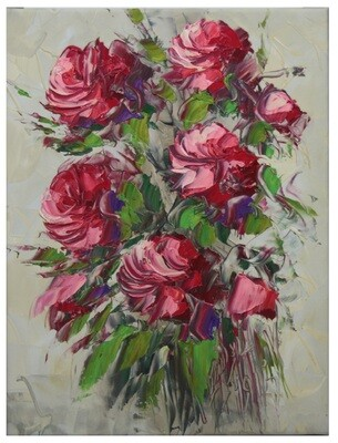 Flowers Oil Painting - Pink Original Hand Painted Canvas