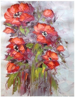 Flowers Oil Painting Terracotta Original Hand Painted Canvas