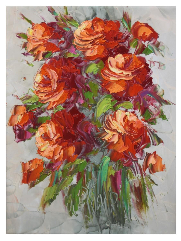 Flowers Oil Painting Orange Original Hand Painted Canvas