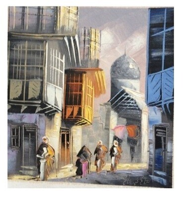 Streets of Baghdad Knife Art Original Hand Painted Canvas