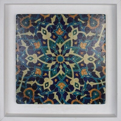 Blue Persian Arabesque Geometric Design Framed Stone Art