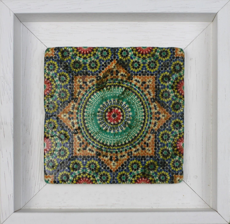 Marrakesh Moroccan Zellige Mosaic Design Framed Stone Art Colourful Saadian Tombs