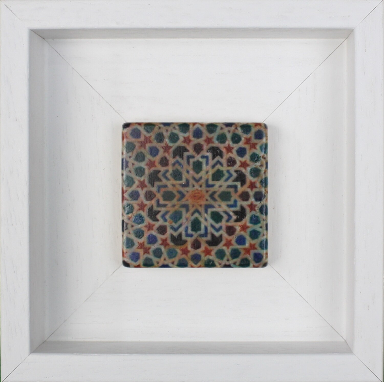 Green & Blue El Mexuar Alhambra Geometric Moorish Design Framed Stone Art