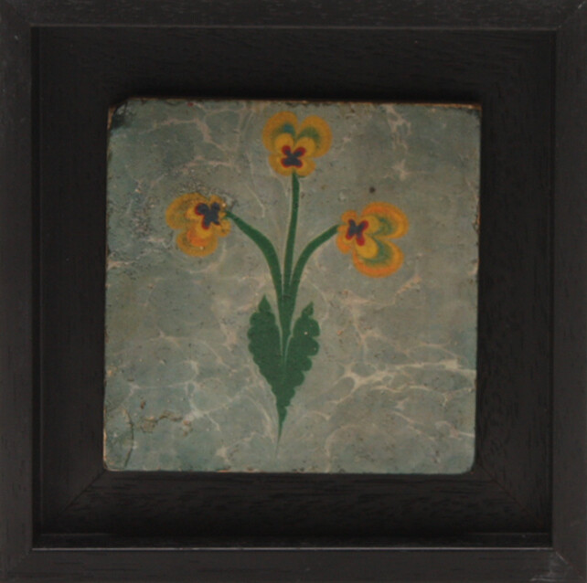 Yellow Flowers on Marble Design Stone Art