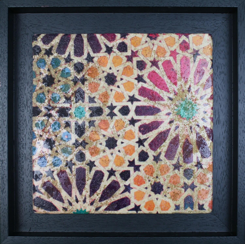 Marrakesh Moroccan Zellige Mosaic Design Framed Stone Art Vibrant Saadian Tombs