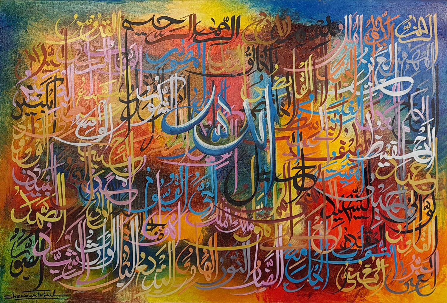 99 Names of Allah Abstract Blue Tones Original Hand-painted Canvas