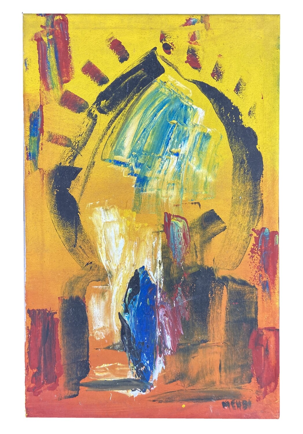 Streets of Fez - Yellow Abstract Textured Multi-Media Hand painted Canvas