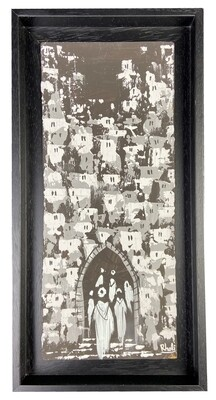 Streets of Fez- Textured Multi-Media Hand painted Canvas in a Black Frame