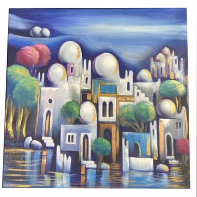 Abstract Houses & Domes Blue Design Original Hand Painted Canvas