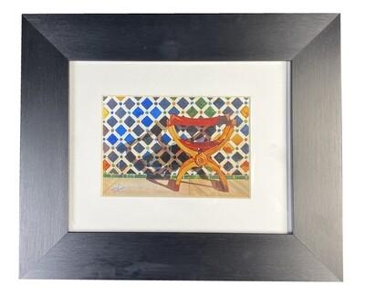 Al-Hambra Geometric Handpainted Design in Black Grain Finish Frame