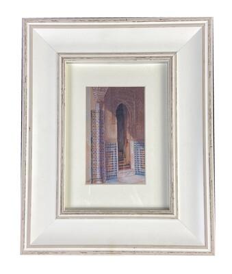 Al-Hambra Doorway Handpainted Design in White Distressed Frame