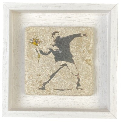 Banksy's Flower Thrower - Love Is In The Air Design Stone Art