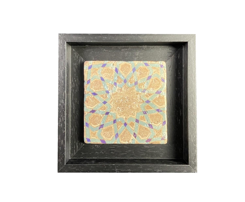 Brown, Blue & Turquoise Persian Geometric Stone Tile