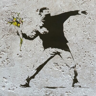 Banksy's Flower Thrower - Love Is In The Air Design Greeting Card