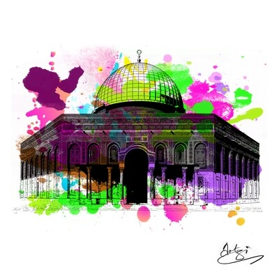 Dome of the Rock Colours of Love - Greeting Card