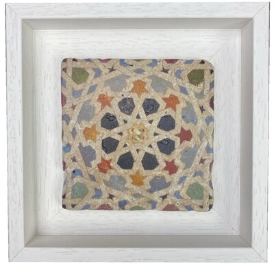 """Andalusian """"Eight-Pointed Star"""" Mosaic Multicoloured Stone Tile"""