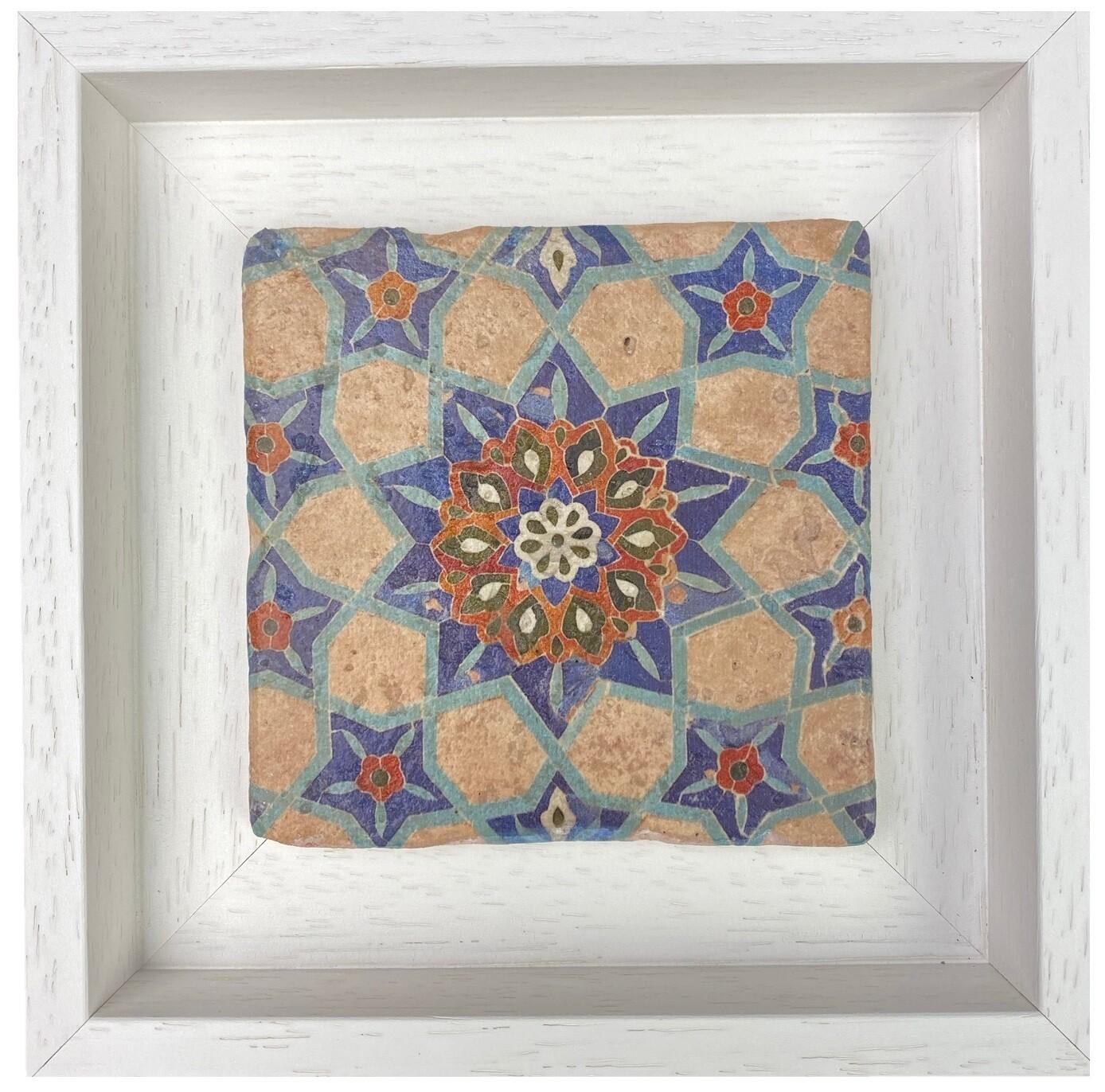 Azure Blue and Sandy Floral Samarkandi Geometric Stone Tile