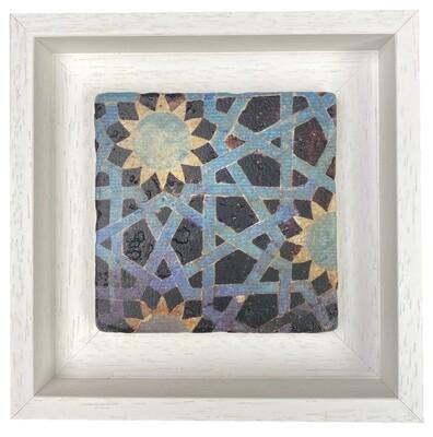 Blue and Yellow Seljuk Anatolian Geometric Stone Tile