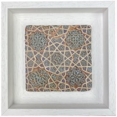 Cobalt Blue Turqouise Red Geometric Stone Tile