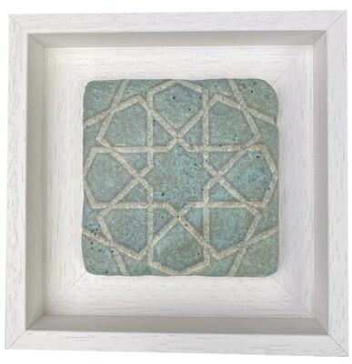 Turquoise White Seljuk Star Pattern Geometric Stone Tile