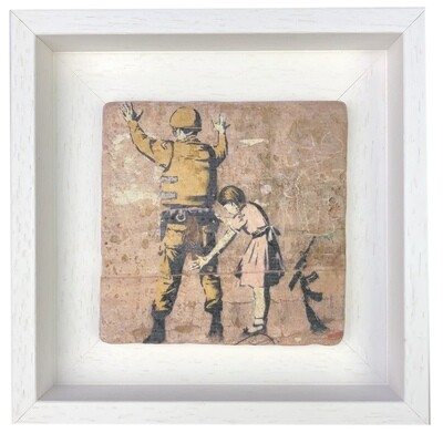 """Banksy's """"Girl and a Soldier"""" Design Stone Art"""