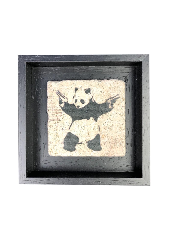 "Banksy's ""Panda with Guns"" Design Stone Art"