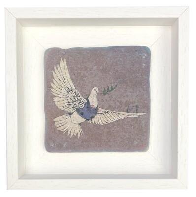 "Banksy's ""Armoured Peace Dove"" Design Stone Art"