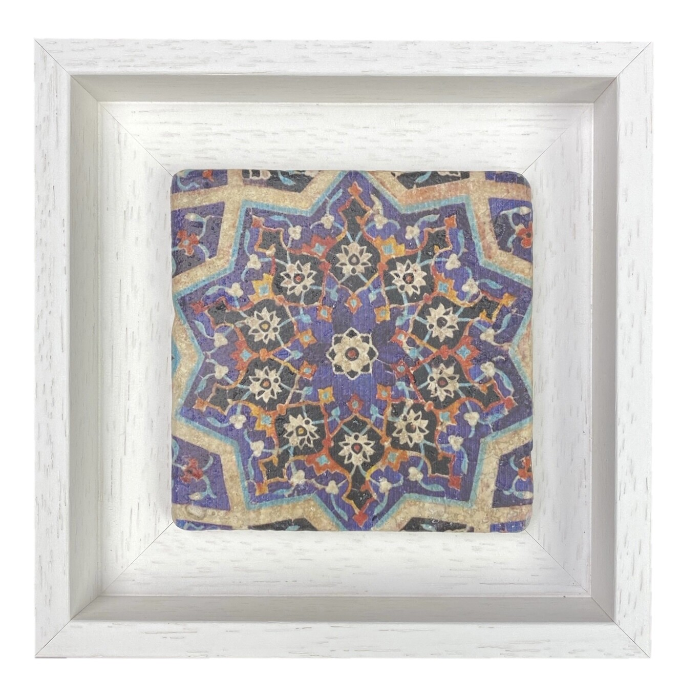 Azure Blue Mosaic Floral Samarkandi Geometric Stone Tile