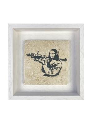 """Banksy's """"Mona Lisa Bazooka"""" Design Stone Art"""