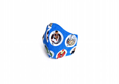 Avengers on Blue- Cotton Face Mask with Filter Pocket