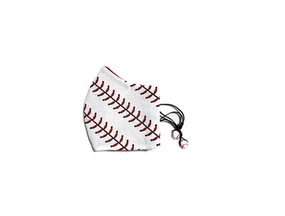 Baseball Laces - Cotton Face Mask with Filter Pocket