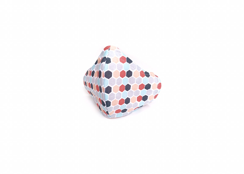 Coral, Aqua, & Grey Hexagons - Cotton Face Mask with Filter Pocket