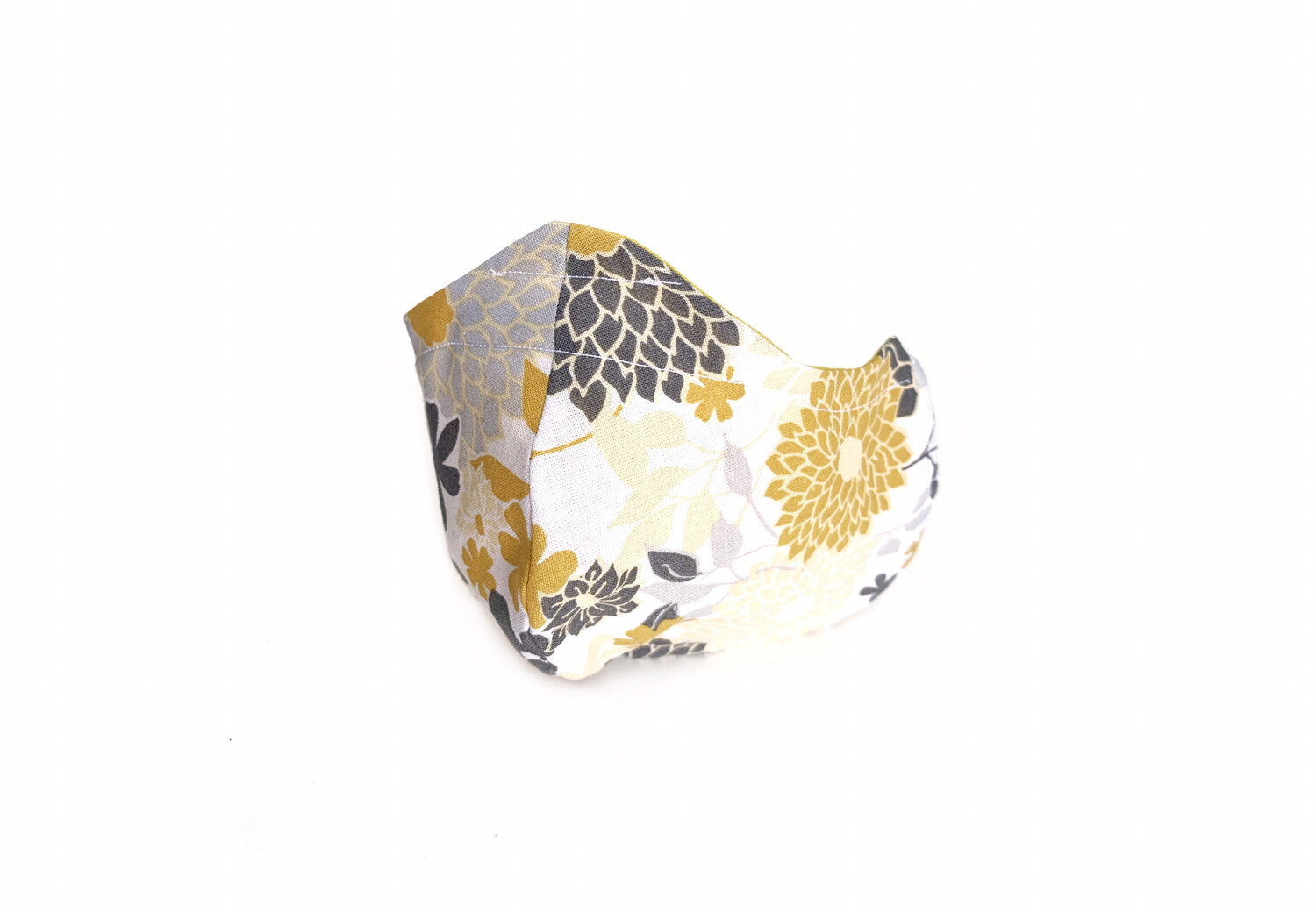 Grey & Yellow Flower Print - Cotton Face Mask with Filter Pocket