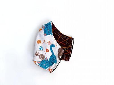 Knitting Needles & Kittens on White - Cotton Reversible Face Mask