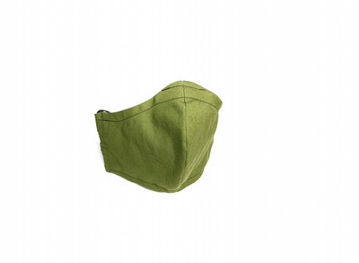 Solid Army Green - Cotton Face Mask with Filter Pocket