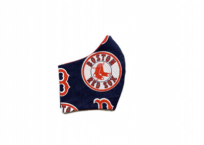 Red Sox on Navy - Cotton Face Mask with Filter Pocket