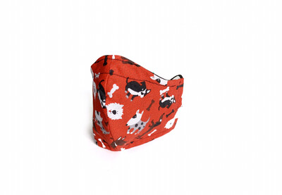 Red Dogs Print - Cotton Face Mask with Filter Pocket